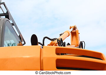 Detail of hydraulic bulldozer sky background - Detail of...