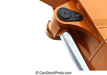 Detail of hydraulic bulldozer white background - Detail of...