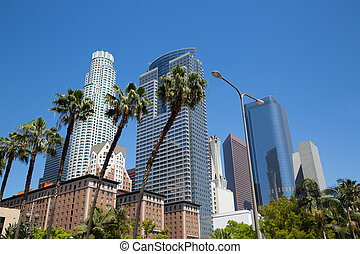 LA Downtown Los Angeles Pershing Square palm tress and...