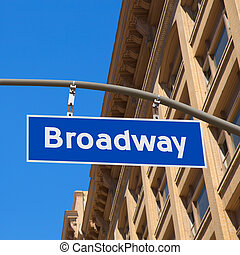 Broadway street Los Angeles Road sign