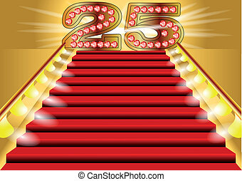 25 years anniversary symbol on the lighted stairs