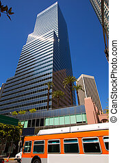 Downtown LA Los Angeles skyline California with traffic on...