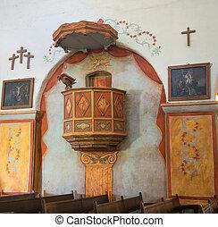 side pulpit inside Mission - Close up of side pulpit inside...