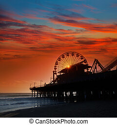 Santa Monica California sunset on Pier Ferrys wheel in...