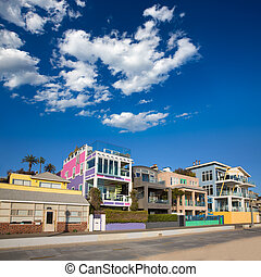 Santa Monica California beach colorful houses