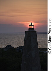 Bald Head Island Lighthouse. - Lighthouse at sunset on Bald...