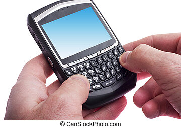 sending an email - close up of hands typing on a Blackberry