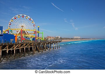 Santa Moica pier Ferris Wheel in California USA on blue...