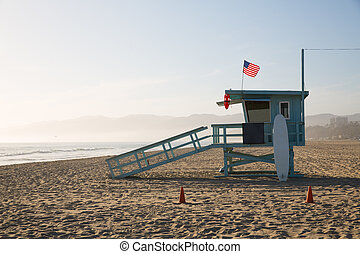 Santa Monica beach lifeguard tower in California USA