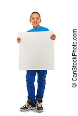 Boy with blank banner - Portrait of happy young boy holding...