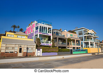 Santa Monica California beach colorful houses in USA