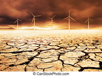Future Farm - Wind Turbines on a cracked earth desert