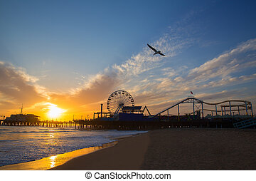 Santa Monica California sunset on Pier Ferrys wheel and...