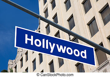 Hollywood  sign illustration over LA boulevard