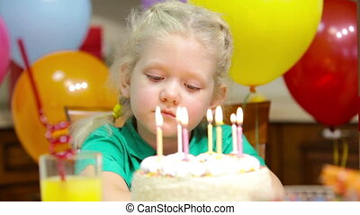 Pensive cutie - Cute little girl thinking over her birthday...