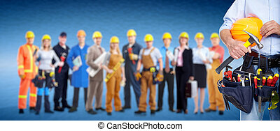 Worker with a tool belt. Over blue background.