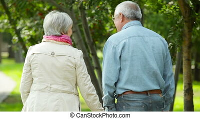 Carefree seniors walking away in the park holding hands with...