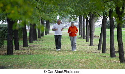 Retired joggers - Retired couple keeping fit jogging in the...