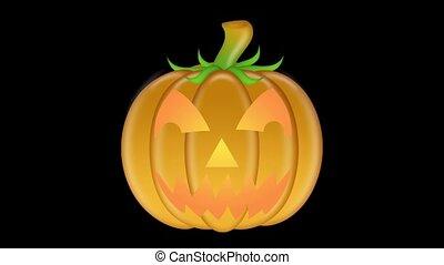 Flickering Candlelit Carved Pumpkin
