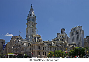 Philadelphia City Hall along J F Kennedy Blvd