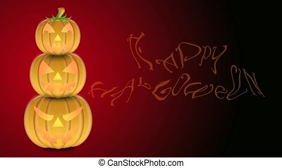 Candlelights in Carved Pumpkins - Flickering Candlelights in...