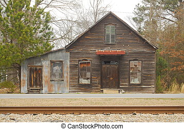 abandon store - old country store by railroad tracks