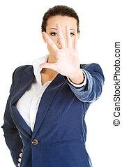 婦女, 事務, 停止, 簽署, 嚴肅, 做