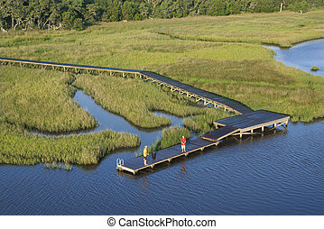 Aerial of boys on dock. - Aerial view of two teenage boys...