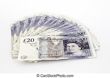 Twenty pound notes - Twenty pounds sterling notes on a white...