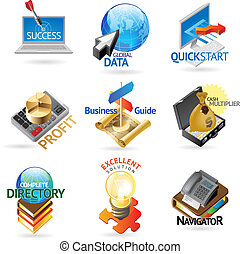 Business headers - Business and technology icons Heading...