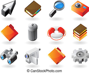 Isometric-style icons for interface - High detailed...