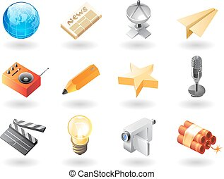 Isometric-style icons for mass media - High detailed...