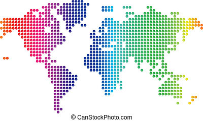Dotted world map - Multicolored dotted world map. Vector...