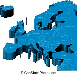 3d map of Europe