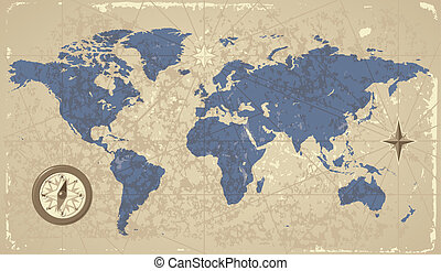 Retro-styled world map with compass - Retro-styled World map...