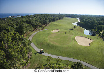 Coastal golf course - Aerial view of golf course in coastal...