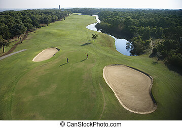 Golf course aerial. - Aerial view of golf course in coastal...