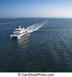 Passenger ferry boat. - Aerial view of passenger ferry boat...