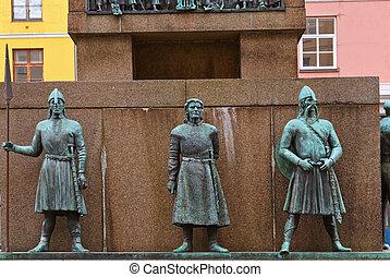 marineros, monumento, -, Bergen, Noruega