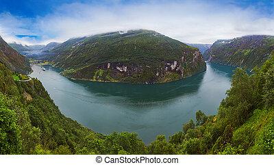 Panorama of Geiranger fjord - Norway - Panorama of Geiranger...