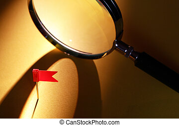 Flag And Magnifying Glass
