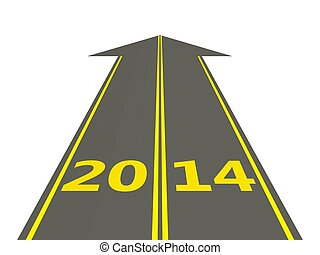 2014 New Year sign on the road isolated on white