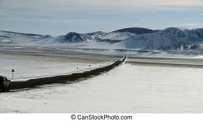 Winter road. - Winter  mountain road. Car on the road.