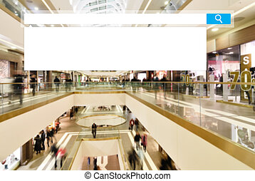 seacrh in mall - search box on blurred photo of a modern...