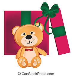 teddy bear present - a beautiful teddy bear with a pink...