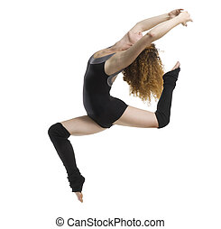 the jump acrobatic - a modern dancer with black dress...
