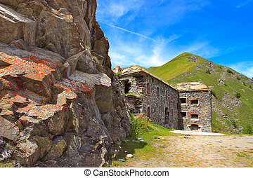 Military alpine fort in Alps, Italy. - Old abandoned...