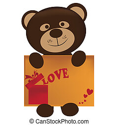 teddy with card - beautiful teddy bear with a valentines...
