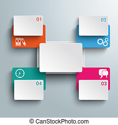 Connected Rectangles Cross Four Options Infographic PiAd -...