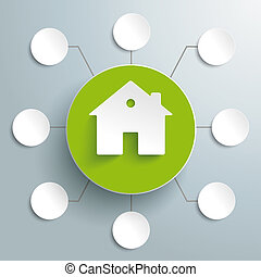 House Green Circle 8 Options PiAd - White tooth with blue...